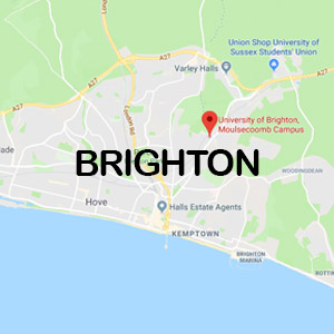 Vacanza Studio a Brighton conforme Estate INPSieme | UNIVERSITY OF BRIGHTON + LONDRA-BRIGHTON-MAP