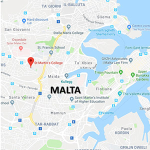 Vacanza Studio a Malta conforme Estate INPSieme | INTERNATIONAL EXPERIENCE IN COLLEGE-MALTA-MAP