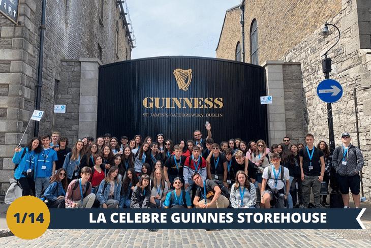 ESCURSIONE DI INTERA GIORNATA: Visiterete la famosa GUINNESS STOREHOUSE  (INGRESSO INCLUSO) , un luogo che vanta oltre 20 milioni di visitatori l'anno! Con i suoi 7 PIANI di intrattenimento e sorprese potrete ripercorrere la storia della birra più rappresentativa d'Irlanda per poi terminare il tour con una panoramica mozzafiato della capitale Dublino. La nota affascinante è che nel 1759, Arthur Guinness firmò un contratto per affittare il birrificio di St James's Gate a Dublino per 9000 anni al prezzo di 45 sterline l'anno. La giornata proseguirà nei tradizionali quartieri della capitale Dublino!