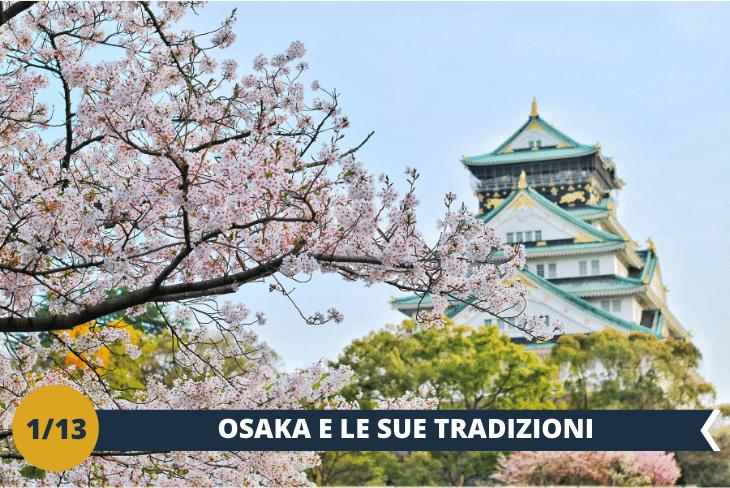 ESCURSIONE INTERA GIORNATA a OSAKA dove parteciperemo in esclusiva ad uno dei tre migliori festival del Giappone, il Tenjin Festival che si tiene ogni anno il 24 e 25 Luglio. La manifestazione, con oltre 1000 anni di storia, è un corteo di figuranti vestiti con meravigliosi abiti imperiali che sfileranno per le vie e poi a bordo di imbarcazioni per proseguire la sfilata lungo il fiume per terminare con un fantastico spettacolo pirotecnico. Nella giornata visiteremo anche l'Osaka Castle (INGRESSO INCLUSO), un maniero nipponico tra i più importanti e famosi della città