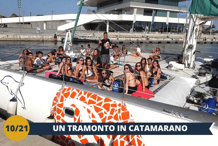CATAMARANO - Godersi il mare di Valencia da un'altra prospettiva:a bordo diun catamarano (INGRESSO INCLUSO), da dove ammireremo un tramonto indimenticabile con una vista e un paesaggio spettacolari!(escursione mezza giornata)