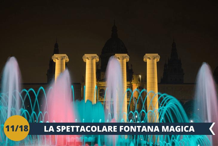 BARCELLONA BY NIGHT : assisteremo allo spettacolo notturno della fontana magica (font màgica in catalano), più di tremila zampilli che si muovono a suon di musica, arricchiti da luci colorate ad effetto, ci regaleranno spettacoli senza eguali. Concluderemo la serata con un buon gelato!