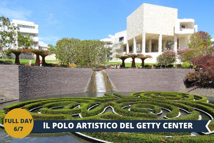 FULL DAY 6/7: GETTY CENTER (INGRESSO INCLUSO), situato sulle colline della zona occidentale di Los Angeles, il Getty Center è una moderna città, un complesso di avveniristici edifici che al loro interno ospitano gallerie ricche di capolavori di arte moderna. Nelle gallerie potete ammirare capolavori di artisti europei, di arti decorative e di fotografia.