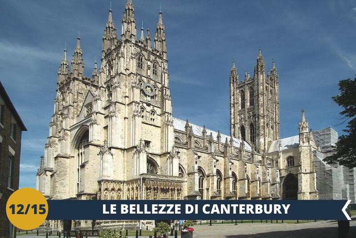 ESCURSIONE INTERA GIORNATA: Escursione a Canterbury, una delle più importanti e storiche città d'Inghilterra giovane e attiva, vanta un bellissimo centro storico medievale e una splendida cattedrale (INGRESSO INCLUSO) gotica chepuò essere considerata la madre di tutte le chiese inglesi.
