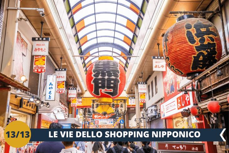 SHOPPING TOUR nel centro di Osaka tra le sue affascinanti vie piene di negozi e locali dove troverete sicuramente un tipico souvenir nipponico da portare a casa per ricordare questa indimenticabile vacanza. (escursione di mezza giornata)