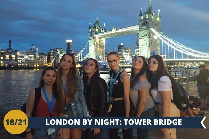 LONDON BY NIGHT per deliziare la vostra vista con il Tower Bridge illuminato e fare una passeggiata lungo il fiume più famoso del mondo.