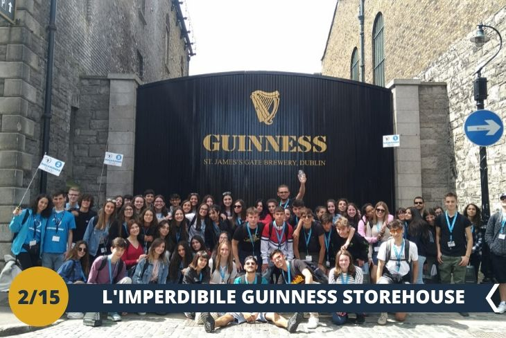 ESCURSIONE DI INTERA GIORNATA: Visiterete la famosa GUINNESS STOREHOUSE (INGRESSO INCLUSO), un luogo che vanta oltre 20 MILIONI DI VISITATORI L'ANNO! Con i suoi 7 PIANI di intrattenimento e sorprese potrete ripercorrere la storia della birra più rappresentativa d'Irlanda per poi terminare il tour con una PANORAMICA MOZZAFIATO DELLA CAPITALE DUBLINO. La nota affascinante è che nel 1759, Arthur Guinness firmò un contratto per affittare il birrificio di St James's Gate a Dublino per 9000 anni al prezzo di 45 sterline l'anno.  LA GIORNATA PROSEGUIRÀ NEI TRADIZIONALI QUARTIERI DELLA CAPITALE DUBLINO!