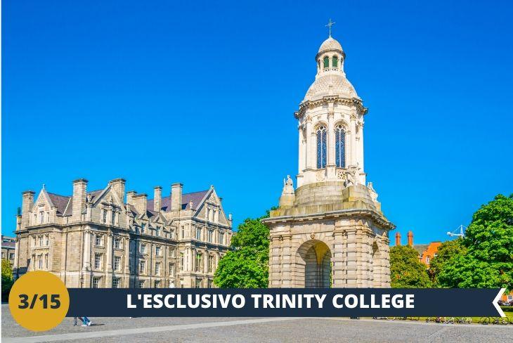 WALKING TOUR DEL TRINITY COLLEGE: un prestigioso istituto d'istruzione a livello mondiale, tra i più antichi d'Irlanda. Costruito nel lontano 1592, presenta un campus ricco di edifici in stile georgiano circondati da prati verdissimi, ed è considerato UNO DEI LUOGHI SIMBOLO DELLA STORIA DELLA CITTÀ. Avrete modo di passeggiare tra i suoi cortili, edifici storici, statue e simboli che insieme rappresentano L'UNIVERSITÀ PIÙ ANTICA D'IRLANDA! Un pomeriggio speciale dove godrete di un'atmosfera unica firmata Trinity.(escursione di mezza giornata).