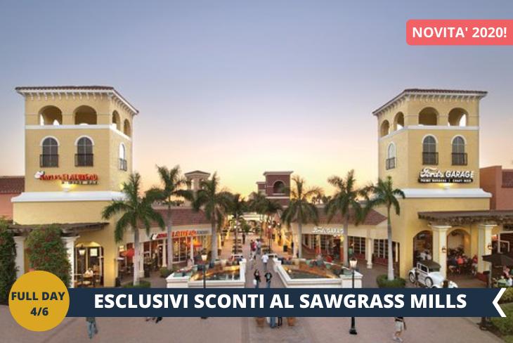 A Fort Lauderdale faremo anche shopping a SAWGRASS MILLS, l'enorme centro commerciale più famoso della Florida. Solo con Giocamondo Study, che ha siglato un accordo con il centro commerciale, avrete l'opportunità di avere tanti sconti e promozioni sui marchi più amati!