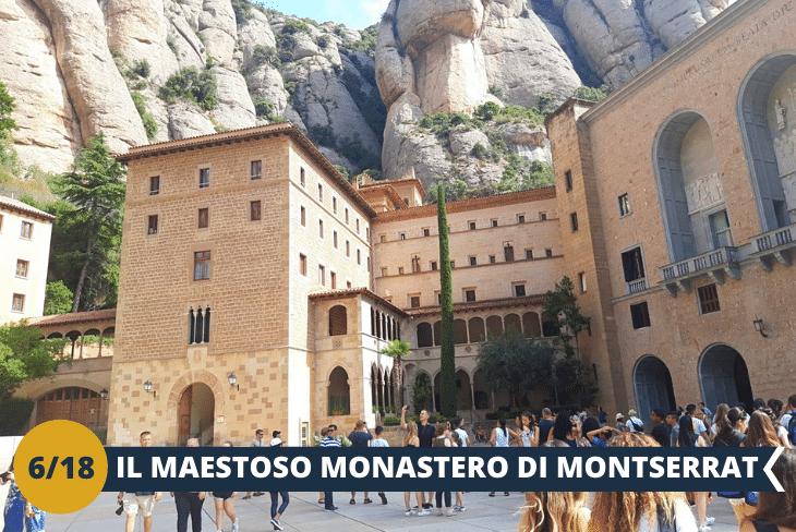 ESCURSIONE DI INTERA GIORNATA al Monastero di Santa Maria de Montserrat (INGRESSO INCLUSO), un luogo sacro per i Catalani, in quanto racchiude la Madonna nera di Montserrat. Raggiungeremo la montagna, di Montserrat a bordo della storica funicolare. Il paesaggio mozzafiato che ammireremo da questo luogo è unico al mondo