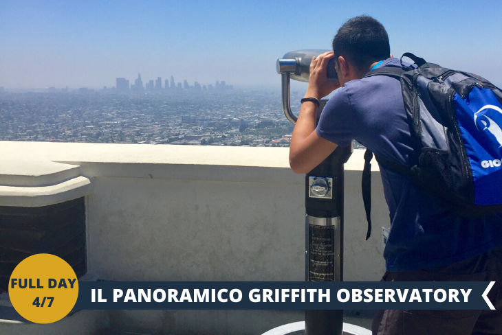 """FULL DAY 4/7: GRIFFITH OBSERVATORY: una delle attrazioni più celebri di Los Angeles è senza dubbio il Griffith Observatory, un osservatorio astronomico sito all'interno del bellissimo Griffith Park, proprio alle pendici del Monte Hollywood. Dal Griffith Observatory potrete ammirare sia la celeberrima scritta """"Hollywood"""" sia le suggestive colline di Hollywood (Hollywood Hills) che l'intero downtown della città fino all'oceano. Avete tutta Los Angeles ai vostri piedi e lo spettacolo è assicurato."""