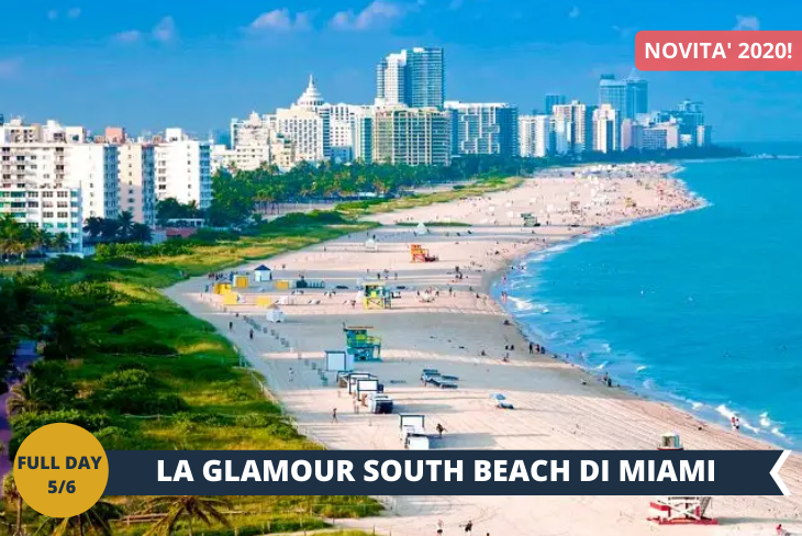 """FULL DAY 5/6 ESCURSIONE DI INTERA GIORNATA A SOUTH BEACH: le spiagge offrono la possibilità di rilassarsi osservando gli edifici color pastello e le acque turchesi. Brezze calde, palme che ondeggiano al vento, e lo sciabordio delle onde che si infrangono sulla riva fanno da sfondo a edifici """"Art Deco"""" color pastello, che rendono la South Beach di Miami un posto di una bellezza sorprendente e spesso inebriante. Questo ha fatto sì che i viaggiatori stagionali l'abbiano soprannominata la """"Riviera Americana"""""""