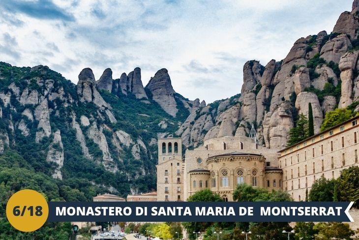 ESCURSIONE DI INTERA GIORNATA PRESSO il Monastero di SANTA MARIA DE MONTSERRAT (INGRESSO INCLUSO) Montserrat è una montagna unica al mondo a soli 50 km da Barcellona. È un luogo meraviglioso e quando la vedrete per la prima volta salendo con la funicolare, rimarrete letteralmente a bocca aperta. La sua particolarità è la sua forma molto insolita con un gran numero di strane formazioni rocciose, molte delle quali sembrano animali ed altre creature. Avrete modo di visitare uno dei luoghi più sacri della Catalogna; il Monastero di Santa Maria de Montserrat, un'abbazia benedettina originaria del IX secolo. Una giornata all'insegna della scoperta di luoghi unici per momenti irripetibili.