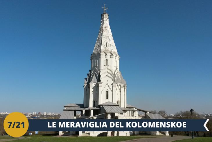 Visiterete uno dei luoghi più belli di Mosca, il Museo Storico e Architettonico di KOLOMENSKOE (INGRESSO INCLUSO), ex residenza estiva della famiglia reale russa. Il parco e i suoi edifici, ricchi di storia, evocano in maniera impeccabile l'affascinante antica Russia. Un'occasione unica per visitare uno dei luoghi più suggestivi della capitale. (escursione di mezza giornata)