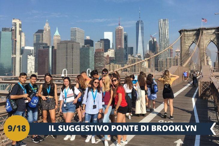 Il PONTE DI BROOKLYN e CITY HALL, vista la nostra vicinanza, non possiamo non percorrere il famosissimo ponte di Brooklyn, che collega Manhattan con l'omonimo distretto. E' un'opera grandiosa dalla quale resterete affascinati dallo skyline di Manhattan! Al di là del ponte il quartiere DUMBO, ricco di gallerie d'arte, boutique e lussuosi appartamenti, dove sarete rapiti da un panorama incantevole! (escursione di mezza giornata)