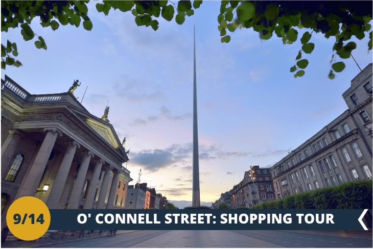 """NORTH DUBLIN TOUR: un walking tour nelle vie principali: O'CONNELL STREET ED HENRY STREET. Come non notare THE SPIRE? Un'immensa torre di acciaio, alta 120 metri e con un diametro di 3 metri alla base, troneggia a O' Connell Street rappresentando LA PIÙ ALTA SCULTURA D'EUROPA. Avrete tempo per esplorare queste strade famose per i negozi ed anche per i """"buskers"""", gli artisti di strada che si esibiscono a tutte le ore attirando l'attenzione dei passanti. (escursione di mezza giornata)"""