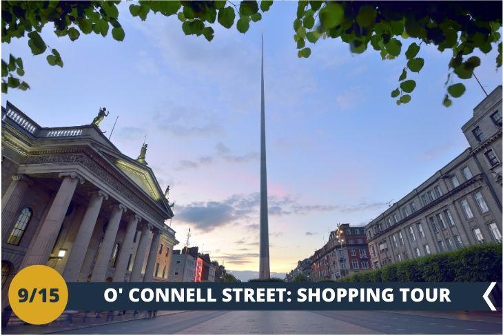 """NORTH DUBLIN TOUR: O'CONNELL STREET ED HENRY STREET. Come non notare THE SPIRE? Un'immensa torre di acciaio, alta 120 metri e con un diametro di 3 metri alla base, troneggia a O'Connell Street rappresentando LA PIÙ ALTA SCULTURA D'EUROPA. Avrete tempo per esplorare queste strade famose per i negozi ed anche per ascoltare i """"buskers"""", gli artisti di strada che si esibiscono a tutte le ore attirando l'attenzione dei passanti. (escursione di mezza giornata)"""