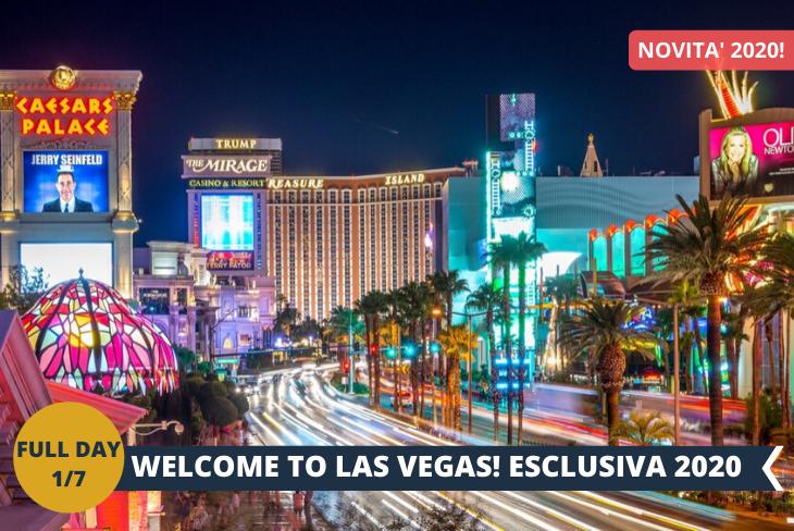 NEW! FULL DA1 1/7 LAS VEGAS E HOOVER DAM Las Vegas, tutto l'incredibile in una città sola! Un tour esclusivo della singolare città americana, ricca di attrazioni e simbolo del gioco di azzardo e del divertimento allo stato puro! Edificata sul deserto del Mojave, è nota anche per la sua via principale, denominata Strip o Las Vegas Boulevard. Questa strada è lunga tre miglia ed ha i migliori hotel della città, alcuni dei quali sono i più grandi a livello mondiale per il numero di stanze di cui dispongono. Un'altra esclusiva attrazione è un grandissimo centro commerciale, edificato all'interno dell'hotel-casinò The Venetian, costruito ispirandosi al Canal Grande di Venezia.