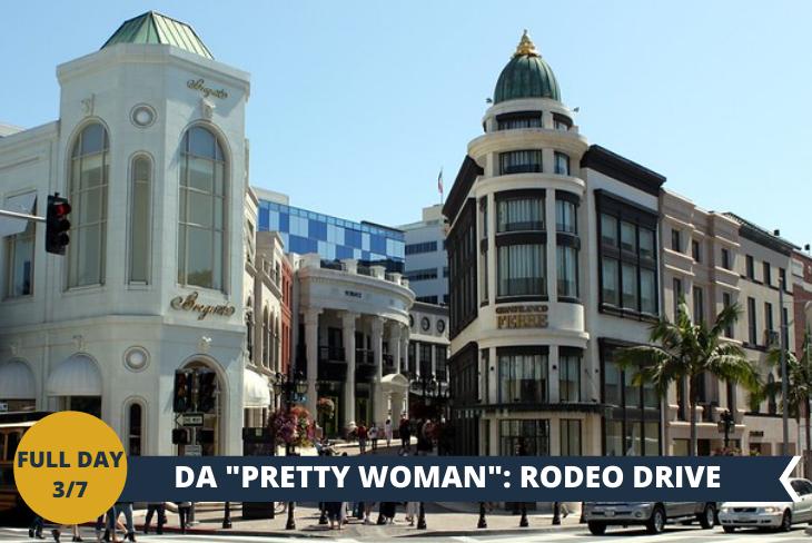 FULL DAY 3/7 RODEO DRIVE, una delle attrazioni più visitate di Los Angeles. Simbolo dello sfavillante mondo dello star di Hollywood, Rodeo Drive è insieme a Beverly Hills, il luogo che meglio incarna nell'immaginario collettivo l'entusiasmante vita delle star del cinema.
