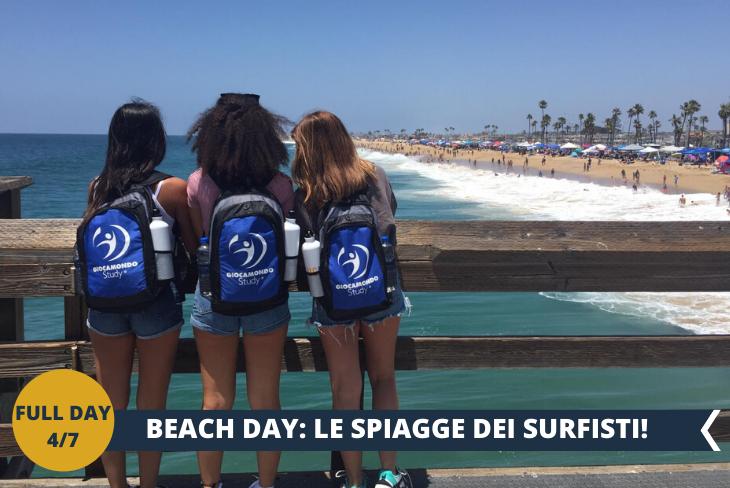 FULL DAY 4/7 CALIFORNIA BEACH DAY!  La California essendo uno Stato molto grande è bagnata dall'Oceano Pacifico, quindi ci sono tantissime spiagge che offrono paesaggi mozzafiato. Le spiagge della California si caratterizzano per il loro ampio litorale di sabbia dorata e accessibile dall'alba al tramonto. CHI NON HA MAI SOGNATO DI VEDERE I SURFISTI su queste spiagge? Tutti praticano surf in California, in mare vedrete uomini e donne di tutte le età, bambini, ragazzini, persino persone anziane. Il surf non è solo uno sport, ma è un vero e proprio stile di vita, un modo per stare insieme, per vivere il mare e la natura, per sentirsi parte del pianeta e per riscoprire se stessi e il proprio animo più profondo, per scoprire il proprio benessere e il relax più assoluto.