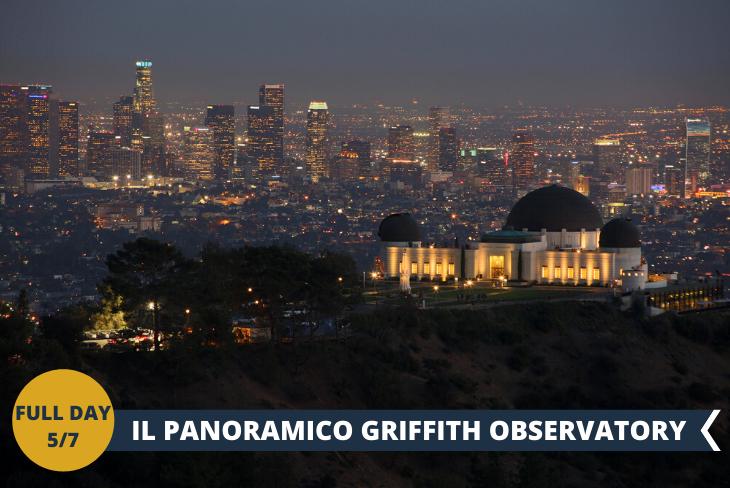 """FULL DAY 5/7: GRIFFITH OBSERVATORY: una delle attrazioni più celebri di Los Angeles è senza dubbio il Griffith Observatory, un osservatorio astronomico sito all'interno del bellissimo Griffith Park, proprio alle pendici del Monte Hollywood. Dal Griffith Observatory potrete ammirare sia la celeberrima scritta """"Hollywood"""" sia le suggestive colline di Hollywood (Hollywood Hills) che l'intero downtown della città fino all'oceano. Avete tutta Los Angeles ai vostri piedi e lo spettacolo è assicurato."""