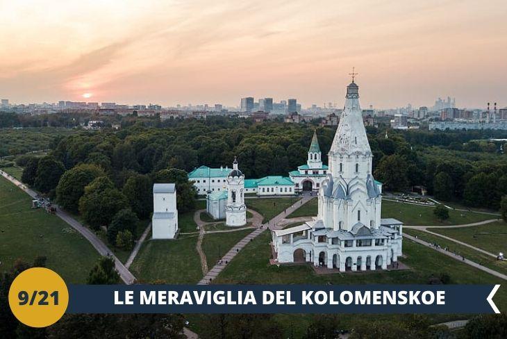 Visiterete il Museo Storico e Architettonico di KOLOMENSKOE (INGRESSO INCLUSO), ex residenza estiva della famiglia reale russa, oggi è inserito in uno dei parchi più belli di Mosca, il parco di Kolomenskoe, sorge sulle rive del fiume Moscova. Il parco contiene la chiesa di Nostra Signora di Kazan e la chiesa dell'Ascensione (Patrimonio UNESCO dal 1994). (escursione di mezza giornata)