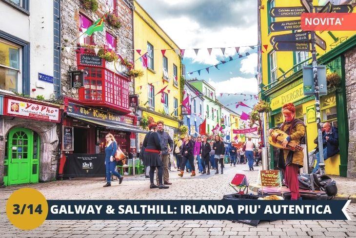 ESCURSIONE DI INTERA GIORNATA: GALWAY TOUR & SALTHILL PROMENADE.  Uno spettacolare coast to coast che ti porterà ad ammirare l'indomita natura della costa atlantica irlandese! Incredibili panorami vi aspettano nella cittadina più caratteristica di tutta l'Irlanda: GALWAY, Capitale Europea della cultura 2020! Un tour di eccezione vi porterà ad apprezzare   l'atmosfera festosa e le tante tradizioni gaeliche che la città racconta, scoprendone non solo i pittoreschi edifici ma anche un lungomare stupendo che volge lo sguardo al maestoso Oceano Atlantico. Un tour che toccherà anche Salthill Promenade che con la sua spiaggia caratteristica, lascerà spazio ai più indomiti esploratori per un bel bagno!!!