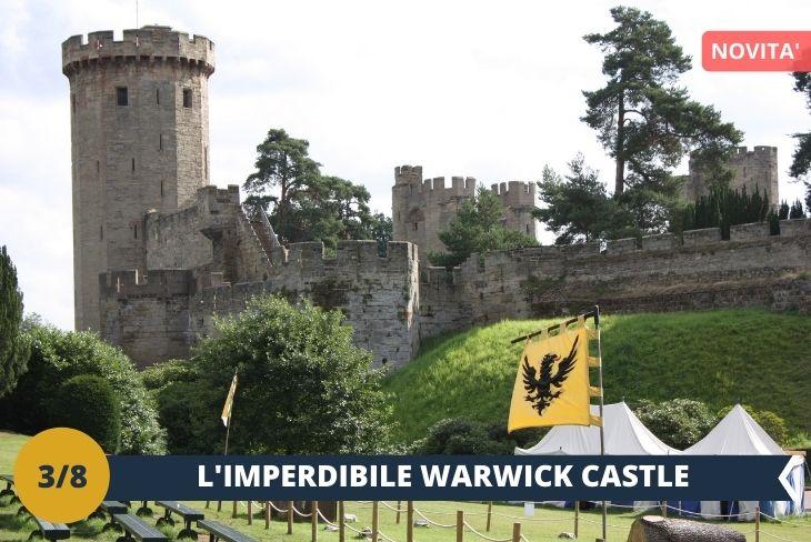 ESCURSIONE DI INTERA GIORNATA a WARWICK, la capitale della storica contea di Warwickshire. La città si trova sulle rive del fiume Avon e vi si trova anche un CASTELLO (INGRESSO INCLUSO), di notevole interesse storico, che fu la residenza del conte di Warwick, uno dei titoli nobiliari più antichi d'Inghilterra. Costruito nel 1068 per volere di Guglielmo il Conquistatore, il castello è oggi un'importante attrazione turistica che attira ogni anno migliaia di visitatori provenienti da tutto il mondo.