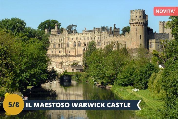 Visiteremo WARWICK, la capitale della storica contea di Warwickshire. La città si trova sulle rive del fiume Avon e vi si trova anche un CASTELLO (INGRESSO INCLUSO), di notevole interesse storico, che fu la residenza del conte di Warwick, uno dei titoli nobiliari più antichi d'Inghilterra. Costruito nel 1068 per volere di Guglielmo il Conquistatore, il castello è oggi un'importante attrazione turistica che attira ogni anno migliaia di visitatori provenienti da tutto il mondo. (escursione di mezza giornata)