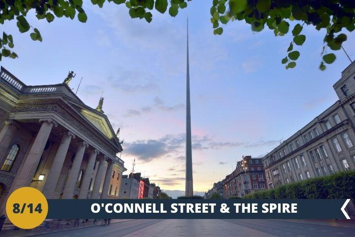 """NORTH DUBLIN TOUR: O'CONNELL STREET ED HENRY STREET. Come non notare THE SPIRE? Un'immensa torre di acciaio, alta 120 metri e con un diametro di 3 metri alla base, troneggia a O' Connell Street rappresentando LA PIÙ ALTA SCULTURA D'EUROPA. Avrete tempo per esplorare queste strade famose per i negozi ed anche per i """"buskers"""", gli artisti di strada che si esibiscono a tutte le ore attirando l'attenzione dei passanti. (escursione di mezza giornata)"""