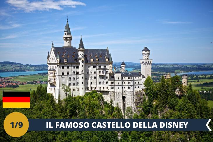 """ESCURSIONE DI INTERA GIORNATA Un'esclusiva intera giornata in un luogo affascinante e ricco di magia, alla scoperta del castello delle favole per eccellenza, di uno dei castelli della baviera più visitati d'Europa… di cosa parliamo? Dell'imponente Castello di Neuschwanstein, o più comunemente conosciuto come il Castello di Walt Disney, poiché utilizzato nel celebre logo dell' omonima società. Walt Disney ne rimase così affascinato che nel 1959 prese Neuschwanstein come modello per l'ideazione del castello del suo celebre film d'animazione """"La bella addormentata nel bosco"""" e le sue ricostruzioni sono attualmente presenti in tutti i parchi Disney del mondo. Situato nel sud della Baviera, immerso completamente in una cornice suggestiva, a quasi mille metri di altezza, si erge ai piedi di una montagna, sul ciglio di una gola vertiginosa. Durante questo eccitante tour guidato ci lasceremo incantare dai fantastici panorami che circondano il castello ed ammireremo le tante meraviglie presenti al suo interno, tra le quali la Sala dei Cantori, la Sala del trono e le Grotte artificiali. """"Se puoi sognarlo, puoi farlo""""!"""