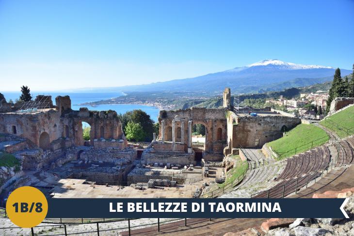 Dopo pranzo ci dirigeremo verso nord, nella provincia di Messina, e faremo un walking tour a Taormina, che grazie alla sua incantevole posizione sul mare, alle bellezze paesaggistiche, al vasto patrimonio storico, culturale e archeologico di cui è ricca, è una delle località turistiche più famose dell'isola. Visiteremo il Teatro Greco (ingresso incluso), il monumento più famoso di Taormina e il secondo teatro più grande dell'isola (dopo quello di Siracusa). Infine faremo un giro nella pittoresca cittadina per ammirarne la sua bellezza di fama mondiale, gustandoci un'incredibile vista sul mare e sul vulcano Etna.