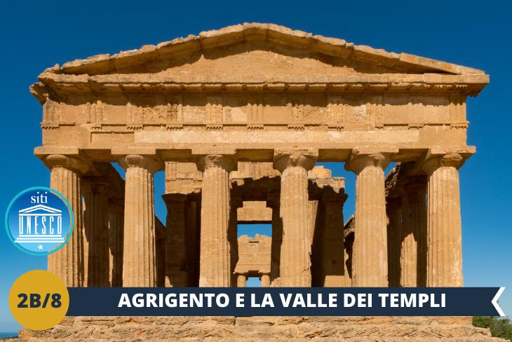 Simbolo della città, nonchè meta imperdibile da visitare se sei ad Agrigento, è la Valle dei Templi (ingresso incluso), uno straordinario patrimonio monumentale e paesaggistico che comprende una distesa di templi dorici dell'antica città greca di Akragas. La Valle dei Templi, con i suoi 1300 ettari, è uno dei siti archeologici più grandi del Mediterraneo ed è inoltre dal 1997 patrimonio UNESCO.
