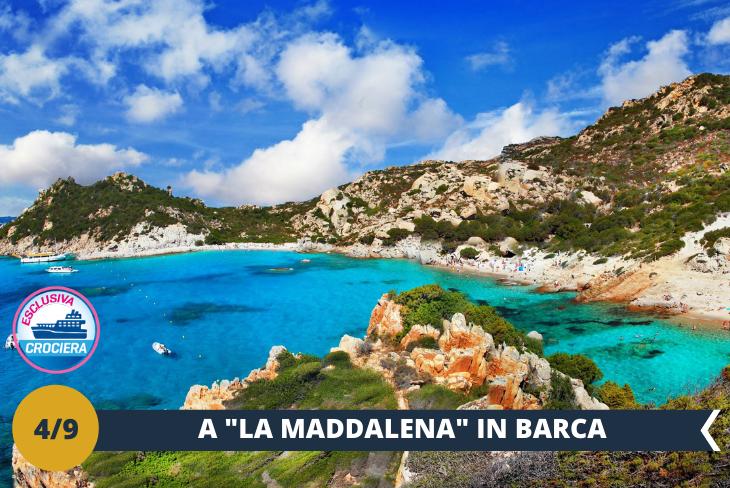 ESCURSIONE DI INTERA GIORNATA a La Maddalena - Stupenda giornata in crociera (ingresso incluso) tra le isole più rinomate del Mediterraneo, le suggestive isole dell'arcipelago della Maddalena. Le nostre prime tappe sono le magiche isole di Spargi e Santa Maria, dove ci tufferemo in spettacolari acque turchesi. Proseguiremo con una sosta fotografica dalla barca alla famosa spiaggia rosa di Budelli, un'esperienza magica! Sbarcheremo infine sull'Isola della Maddalena, dove potremo passeggiare lungo le animate stradine del centro storico con i caratteristici edifici dai colori pastello. Completeranno la visita il mercato del pesce, il porto turistico, il municipio e tanto shopping!