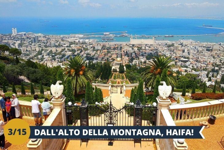"""ESCURSIONE DI INTERA GIORNATA AD HAIFA, """"CAPITALE DEL NORD"""" di Israele. E' la terza città più grande in Israele dopo Tel-Aviv e Gerusalemme. E' conosciuta come una città con una popolazione mista di arabi ed ebrei che vivono in armonia. Haifa è costruita su una montagna, la montagna Carmelo. Sulla baia si trova il porto di Haifa, che è il porto principale di Israele. Haifa è splendida perché qui si sovrappongono ed incrociano, architetture, storie, popoli, religioni. La principale attrazione turistica di Haifa è costituita dai giardini Bahai. Sono grandi e splendidi giardini amministrati dalla religione Bahai che ha la sua sede mondiale proprio qui."""