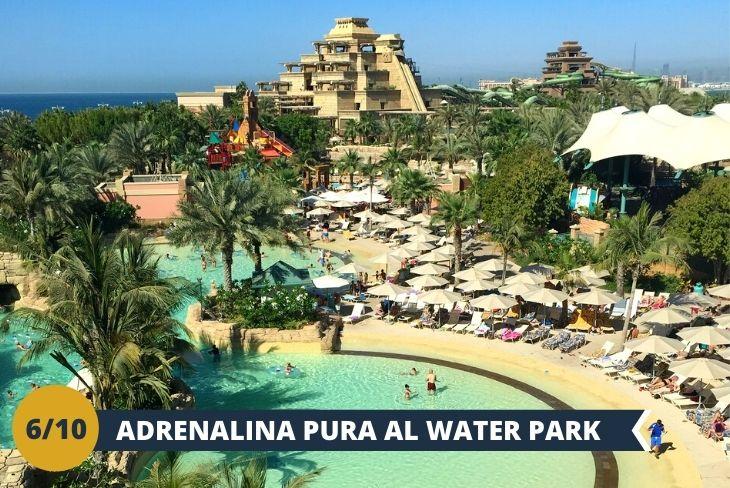 Escursione di INTERA GIORNATA al divertentissimo Wild Wadi Water Park  il quale vanta molte eccitanti attrazioni,  con vista sul bellissimo Burj Al Arab – simbolo di Dubai grazie alla sua forma a vela. Tuffi, giochi d'acqua, esperienze mozzafiato, il tutto incorniciato da un fantastico panorama sul golfo…tutto questo ed altro all'interno di questo incredibile parco acquatico ispirato al folclore Arabo, che soddisferà la vostra sete di  avventura!