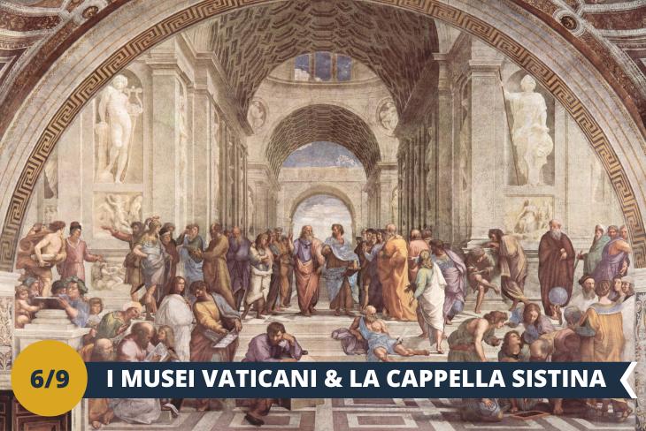 Musei Vaticani + Cappella Sistina + walking tour serale Roma - Inclusi nella lista dei musei più importanti al mondo, nonché visitati da più di 6 milioni di persone ogni anno, se sei a Roma tappa essenziale è la visita ai Musei Vaticani (ingresso incluso). La Cappella Sistina, le stanze di Raffaello e la Pinacoteca, sono solo una parte del gran numero di collezioni di inestimabile valore presenti al suo interno, le quali renderanno questo tour un'esperienza davvero unica! Concluderemo la giornata con un emozionante walking tour serale di Roma, lasciandoci incantare dai panorami di straordinaria bellezza e scorci suggestivi che la città eterna regala. (ESCURSIONE MEZZA GIORNATA)
