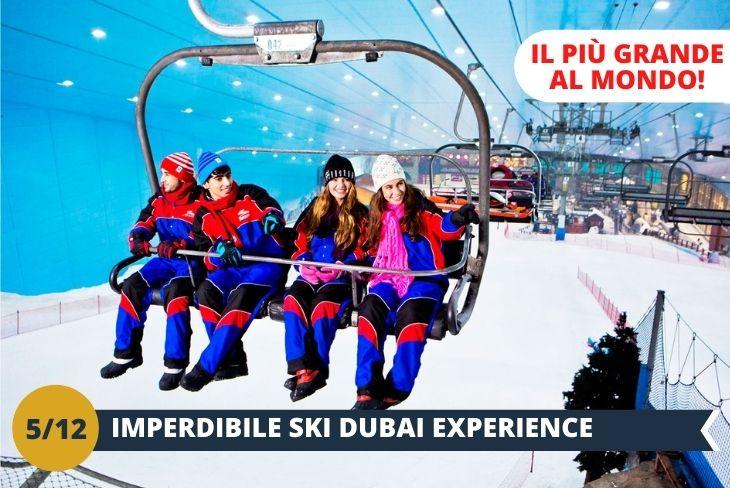 Una stazione sciistica in una città caldissima. Strano, eh? Ski Dubai è una delle attrazioni principali della città. Ben 5 piste, una seggiovia quadriposto, un'area coi pinguini e uno snowpark di oltre 4000 metri quadri. Un'incredibile esperienza sulla neve.  Ski Dubai è tutt'uno col MALL OF EMIRATES, gigantesco centro commerciale con negozi, boutique, bar e ristoranti. Insomma un tempio dello shopping e del divertimento! (Escursione di mezza giornata)