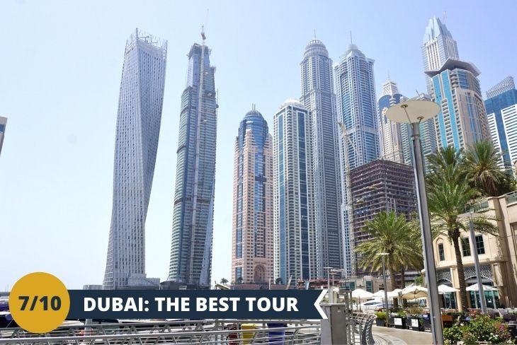 Un tour emozionante che vi porterà nei luoghi più visitati della città. Dall'icona di Dubai, The Palm, sita in una delle famose isole artificiali a forma di palma famosa per le sue fantastiche riprese aeree, visiterete Marina Dubai la quale ha il porto turistico più grande al mondo. Di seguito approderete a Downtown Dubai, è uno dei quartieri più alla moda di Dubai, dove ammirerete edifici degni di nota come il Burj Khalifa, il grattacielo più grande del mondo, per poi infine terminare il tour con Old Dubai, dove ancora tradizioni e folclore persistono accanto a tanta modernità! (Escursione di mezza giornata)